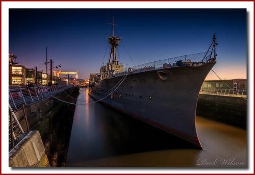 hmscaroline jutland cclasslightcruiser belfast bluehour ship worldwarone ww1 navy royalnavy destroyer alexandradock northernireland