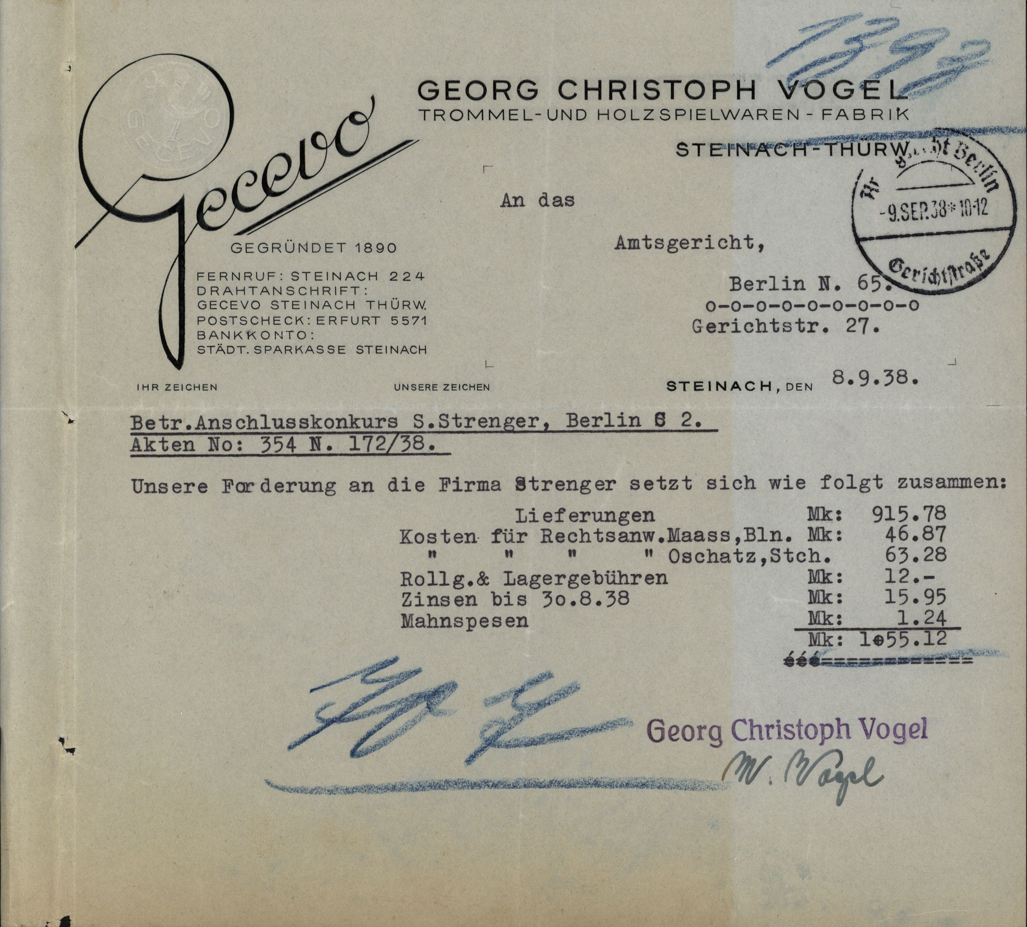 1938 Gecevo Invoice