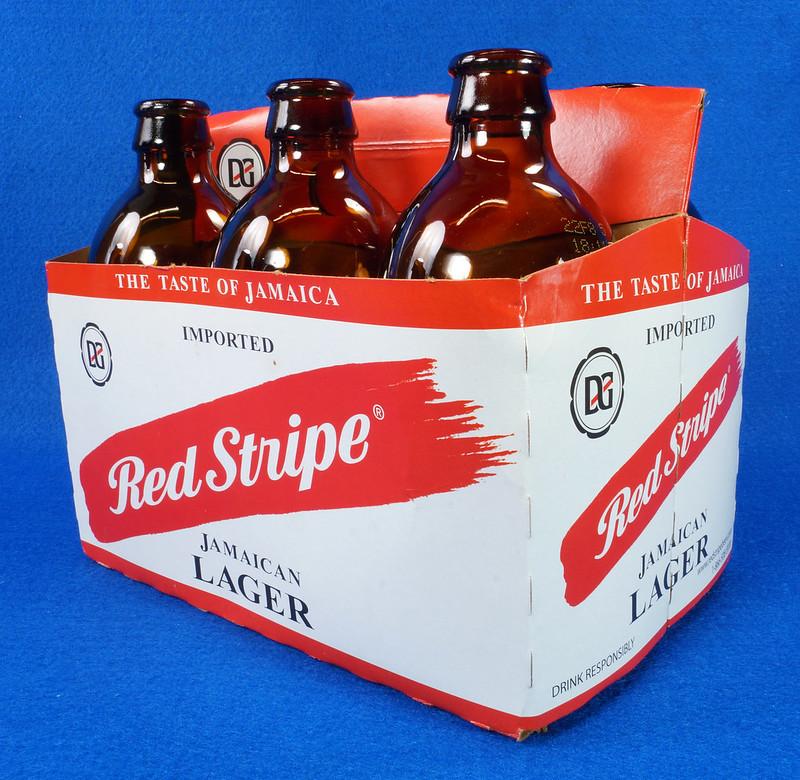 RD14201 6 Red Stripe 12 oz Brown Stubby Beer Bottles in Original 6 Pack Carton DSC05348