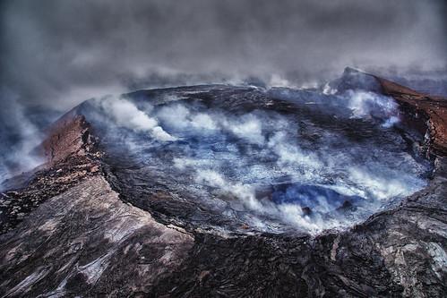 volcano hawaii lava crater geology volcanic aerialphotography eruption kilauea active puuoovent