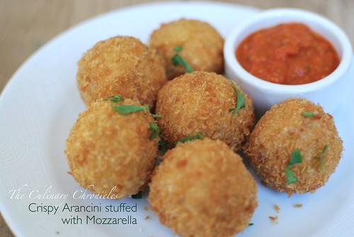Crispy Arancini stuffed with Mozzarella   by The Culinary Chronicles