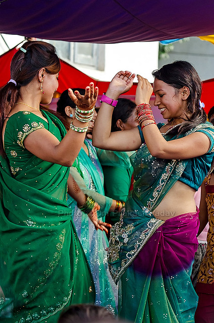 Girls dancing to the tunes of modern songs