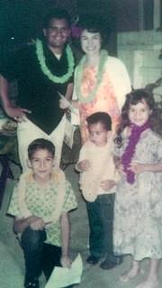 A Mexican American family @ a luau.