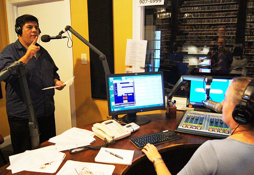 WWOZ's Jorge Fuentes and Suzanne Corley in the studio during the station's Fall Pledge Drive. Photo by Bill Sasser