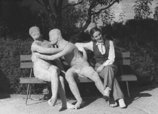 Katy Untch '83 with her senior art project in Lyon Garden in December 1982