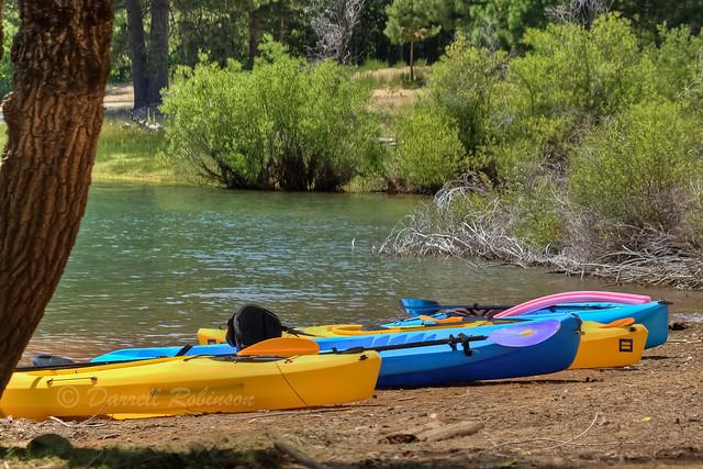 Kayaks at Scotts Flat Lake