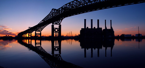 new city sunset panorama reflection abandoned station electric river power nj jersey skyway pulaski