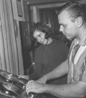 Roger Russel '65 training Abby Hourweik '67 for duties as a KSPC-FM engineer