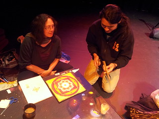 Nam with Alexis learning about mandala creation. | by dorofofoto