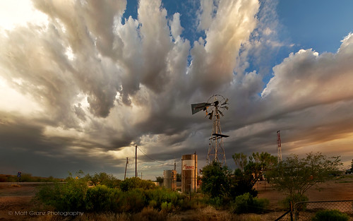 sunset arizona sky storm windmill weather clouds monsoon