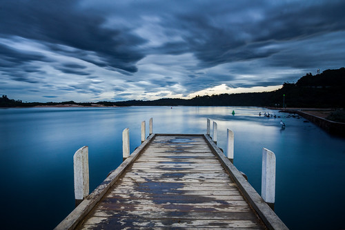 richard sollorz lakes entrance victoria jetty sea seascape sunset clouds long exposure blue reflection outdoors landscape australia
