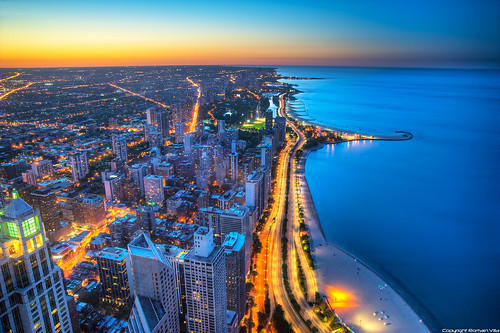city sunset usa lake chicago beach atardecer drive illinois nikon tramonto cityscape unitedstatesofamerica north lac shore villa romain dri hdr ville hdri couchédesoleil johnhancockcenter windycity oakstreetbeach michiganlake northlakeshoredrive d700 romainvilla lacmichigan romvi