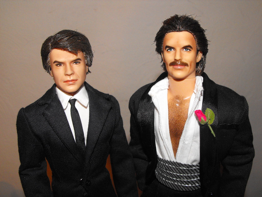 Robert Urich with his best friend Tom Selleck  Re-paint Ha