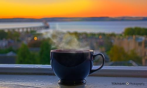 bridge cup coffee sunrise landscape scotland focus warm tea bokeh dundee tay hdr