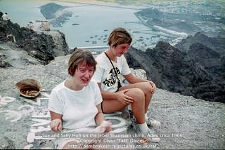 Sue and Sally Holt on the Jebel Shamsam climb, Aden crica 1966