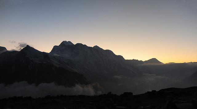 Sunset from Pisang BC, Annapurna range