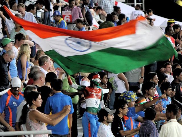 No.1 Tendulkar fan waving the Indian flag