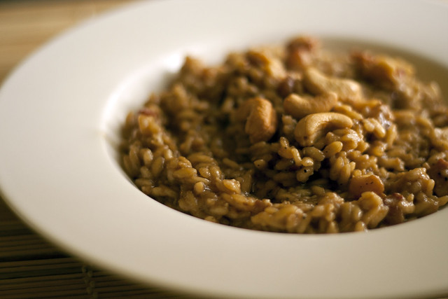 Risotto with Marsala wine, lard from the pig's cheek and cashew