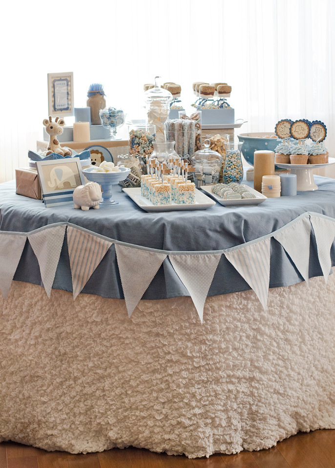 Blue Brown Jungle Baby Shower Dessert Table Kimberly Young