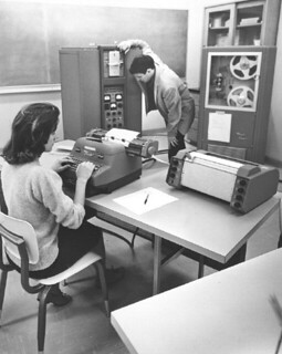 Students using the Bendix G-15 computer