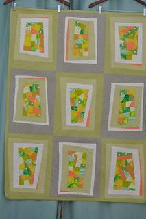 Celery and Tangerine Wonky Windows Quilt