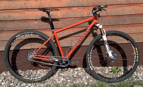 <p>Photo of Paul Wagner's Ruffian 29er in Burnt Orange.  Note the Paragon slider dropouts that not only work great for single speed use, but can be converted for multispeed.  Paul earned 3rd at the 2012 Copper Harbor Trails Festival in the long course single speed competition with his</p>