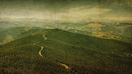 road autumn trees sky mountains tree fall texture pine clouds rural forest canon vintage landscape colorado afternoon grunge aged peaks hdr textured 16x9 fauxvintage t1i applesandsisters