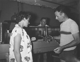 Professor Willis Pequegnot and students at the College's marine laboratory at Corona del Mar, California, in 1954