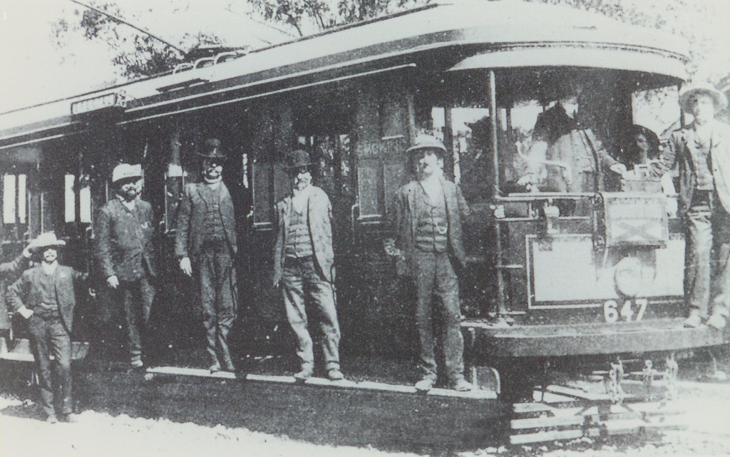 N Class tram with tramway officers on a trial trip of the first electric tram to Abbotsford, NSW in April 1905