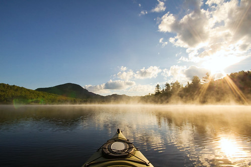 mist lake mountains sunrise vermont newengland steam kayaking vt northeastkingdom lakeeden