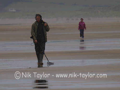 Jew Detector: Man With Metal Detector At The Beach