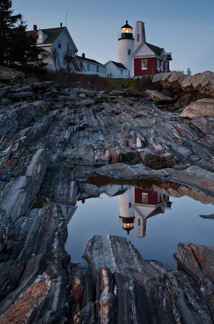 Moonlit Reflection of Pemaquid Light, New Harbor, Maine (8118-8121)
