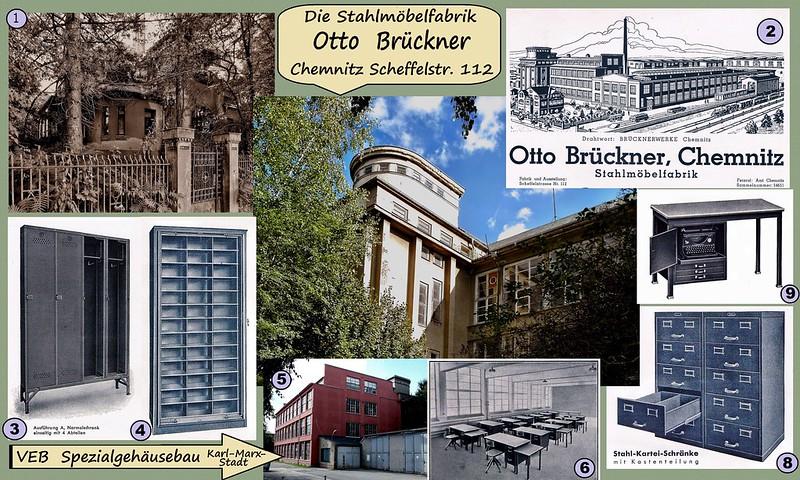 Die ehem. Stahlmöbelfabrik Otto Brückner in Chemnitz an der Scheffelstraße 112 - in DDR Zeiten VEB Spezialgehäusebau Karl-Marx-Stadt - heute Möbelbörse des BBAB