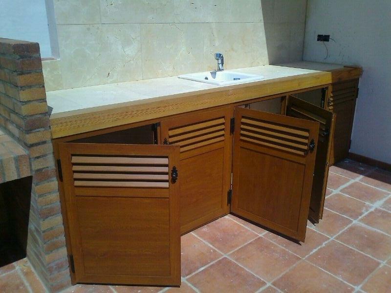 Mueble Para Terraza De Aluminio Imitación Madera Mueble P