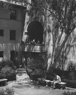 Courtyard in Clark residence hall complex in 1956