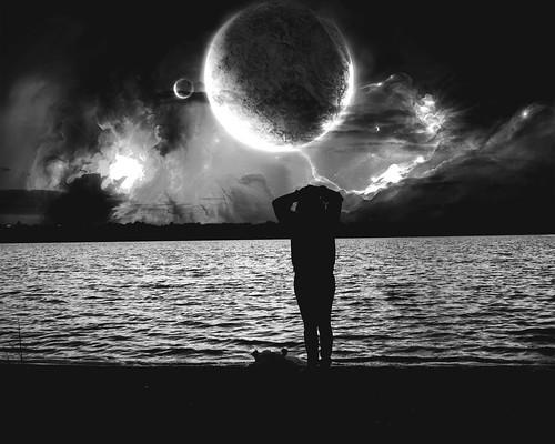 portrait sky blackandwhite lake beach girl silhouette female clouds photomanipulation stars landscape dusk manipulation stellar nebula planets moons galaxies grayscale greyscale