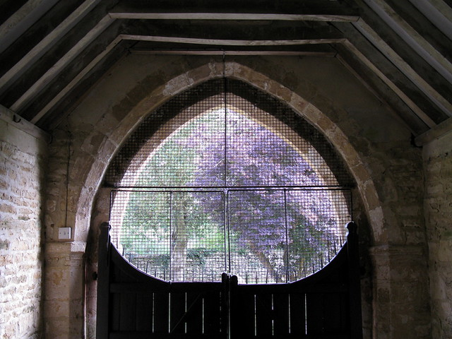 Inside the South Porch, the Church of St Andrew, Eastleach Turville, Gloucestershire, England