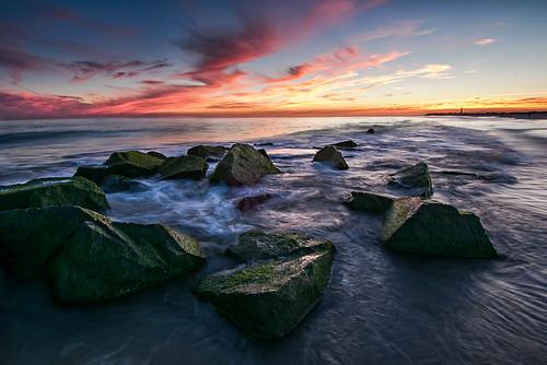 ocean sunset sky beach newjersey rocks capemay 2012