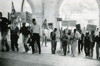 Men protesting the opening of Frary Hall to women on Fridays in 1957