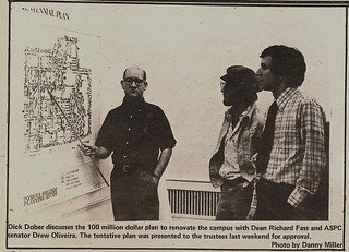 TSL photo Dick Dober, Dean Richard Fass and ASPC senator Drew Oliveira '80 discussing renovation plans associated with the Centennial Campaign