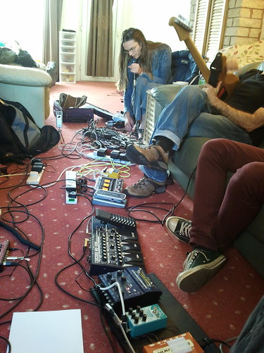 Georgina Brett looping her voice in a room FULL of pedals :) | by solobasssteve