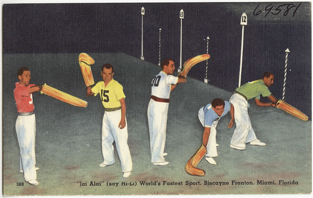Jai Alai' (say hi-li) world's fastest sport, Biscayne Fronton, Miami, Florida