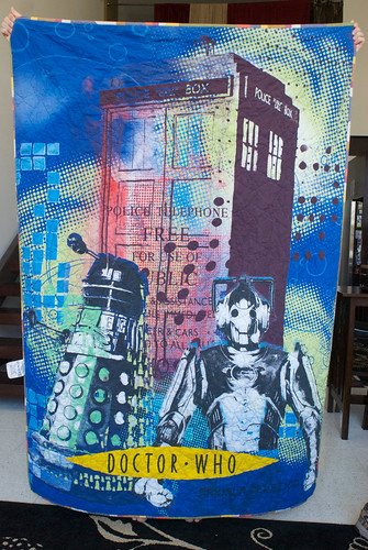 Jacob is a huge fan of Doctor Who. For the back, it seemed a shame not to use part of the Doctor Who duvet cover I'd ordered from the UK. It meant both sides were interesting, which I like.