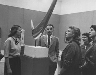 Dr. Peter Selz, chairman of the Art Department, with students in Rembrandt Hall in 1955