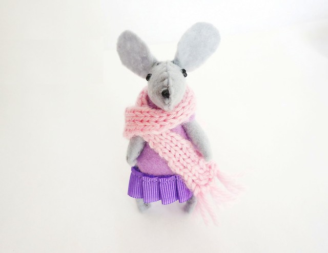 Lilac felt mouse in match box bed