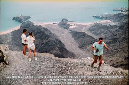 Sally Holt, Sue Holt and Bill Linford, Jebel Shamsam climb, Aden circa 1966, climbing Jebel Shamsam