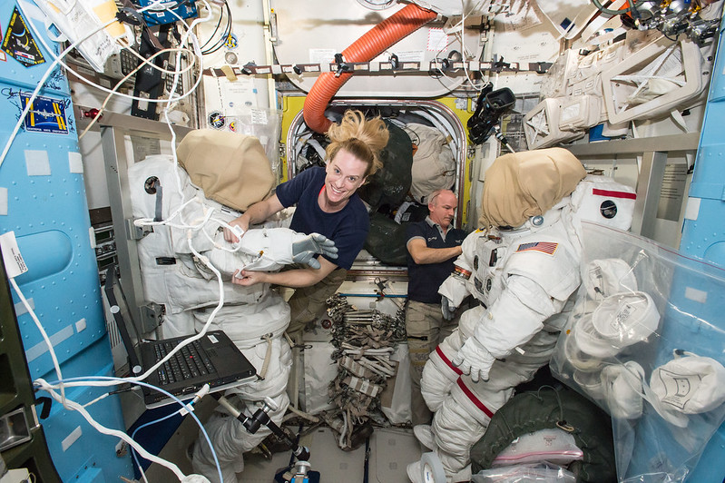 Astronauts Kate Rubins and Jeff Williams Prepare For a Spacewalk