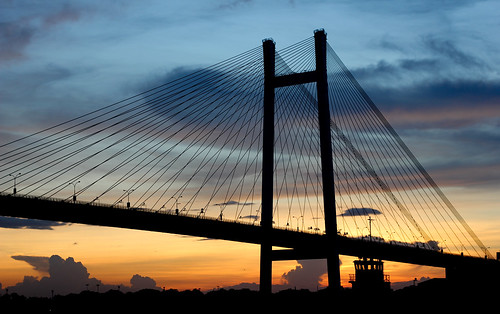 bridge sunset sky india colors ngc september kolkata calcutta ghat vidyasagar setu princep