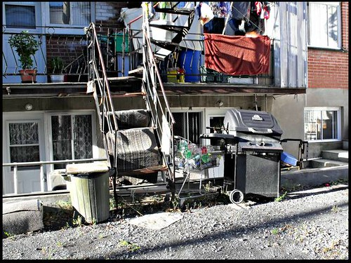 windows plant canada stairs yard alley doors bottles quebec montreal trolley balcony shoppingcart bbq bin blanket recyclingbin navejo