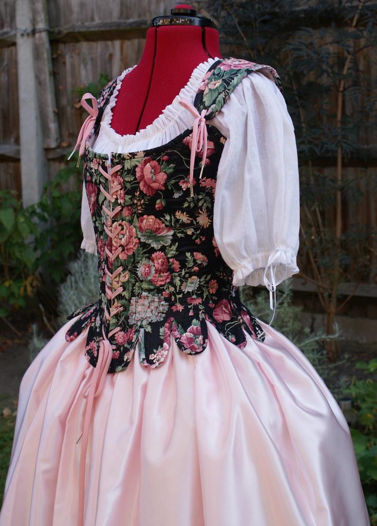 1d5008d6495 ... 18th Century Marie Antoinette Stays Corset Black Floral Chintz